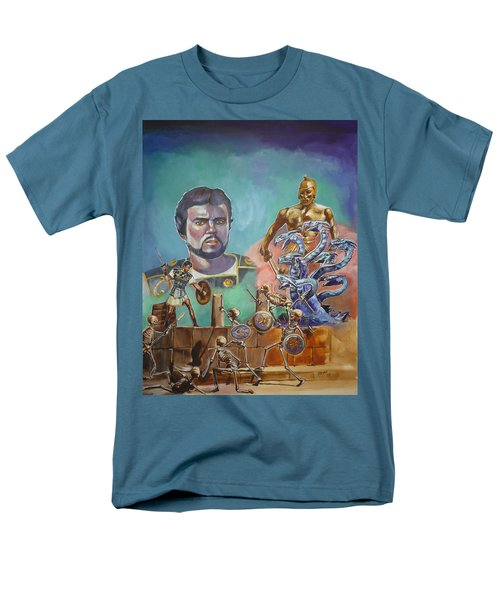 Men's T-Shirt  (Regular Fit) featuring the painting Ray Harryhausen Tribute Jason And The Argonauts by Bryan Bustard