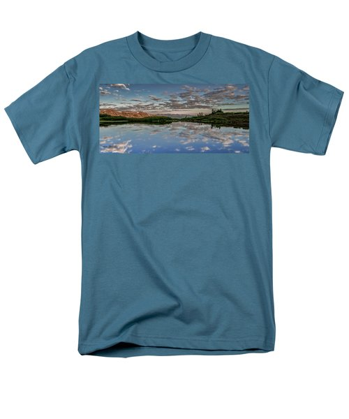 Men's T-Shirt  (Regular Fit) featuring the photograph Reflection In A Mountain Pond by Don Schwartz