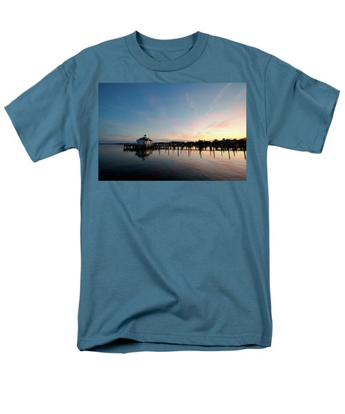 Men's T-Shirt  (Regular Fit) featuring the photograph Roanoke Marshes Lighthouse At Dusk by David Sutton