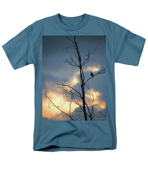 Men's T-Shirt  (Regular Fit) featuring the photograph Robin Watching Sunset After The Storm by Sandi OReilly
