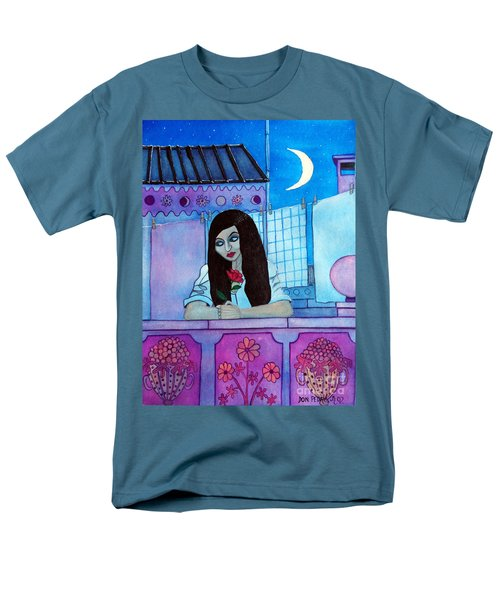 Men's T-Shirt  (Regular Fit) featuring the painting Romantic Woman In The Terrace At Night by Don Pedro De Gracia