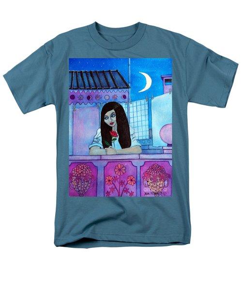 Romantic Woman In The Terrace At Night Men's T-Shirt  (Regular Fit) by Don Pedro De Gracia