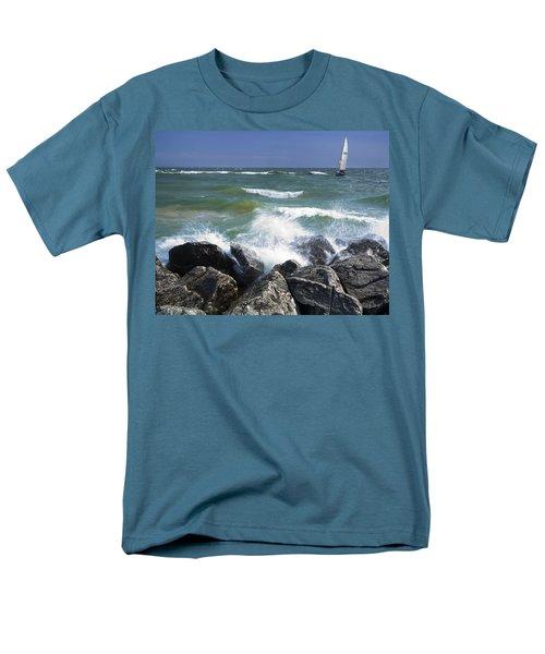Sailboat Sailing Off The Shore At Ottawa Beach State Park Men's T-Shirt  (Regular Fit)