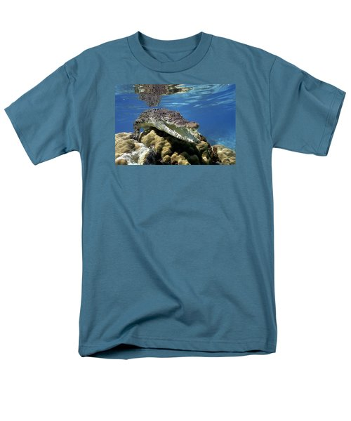 Saltwater Crocodile Smile Men's T-Shirt  (Regular Fit) by Mike Parry