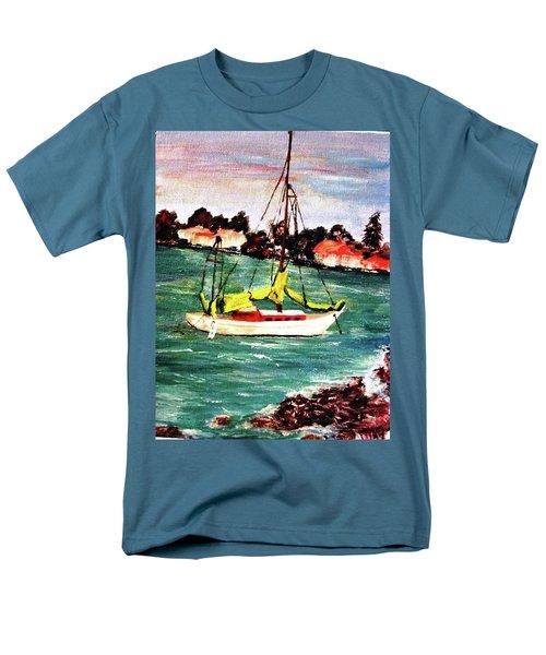 Sarasota Bay Sailboat Men's T-Shirt  (Regular Fit) by Angela Murray
