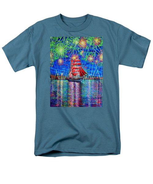 Men's T-Shirt  (Regular Fit) featuring the painting Scarlet Sail by Viktor Lazarev