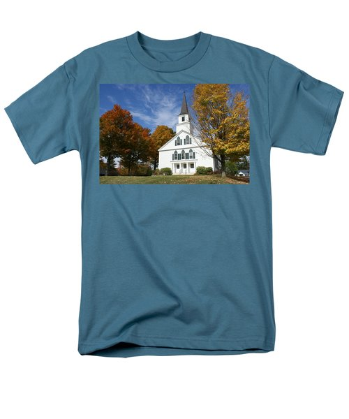 Men's T-Shirt  (Regular Fit) featuring the photograph Scenic Church In Autumn by Lois Lepisto