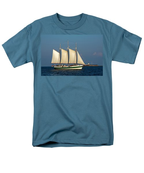 Schooner By Fort Sumter Men's T-Shirt  (Regular Fit) by Sally Weigand