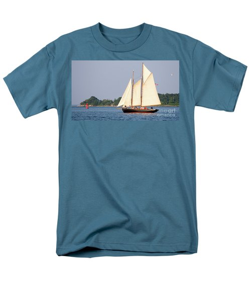 Men's T-Shirt  (Regular Fit) featuring the photograph Schooner Cruise, Casco Bay, South Portland, Maine  -86696 by John Bald