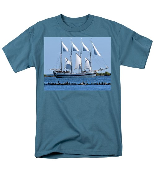 Schooner On Lake Michigan No. 1-2 Men's T-Shirt  (Regular Fit) by Sandy Taylor