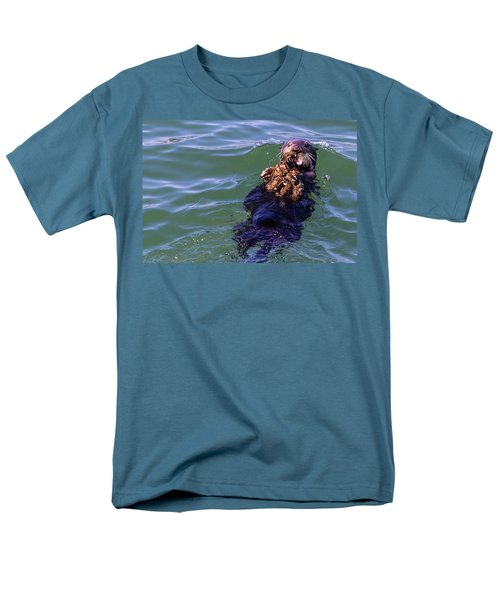 Sea Otter With Lunch Men's T-Shirt  (Regular Fit) by Randy Bayne