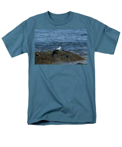 Men's T-Shirt  (Regular Fit) featuring the digital art Seagull On The Rocks by Barbara S Nickerson