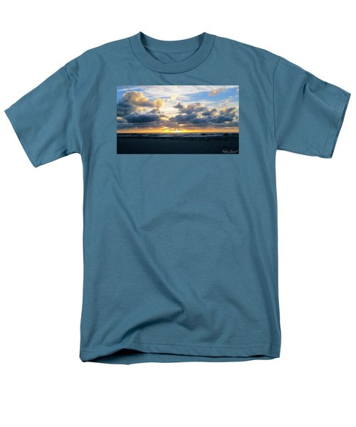 Men's T-Shirt  (Regular Fit) featuring the photograph Seagulls On The Beach At Sunrise by Robert Banach