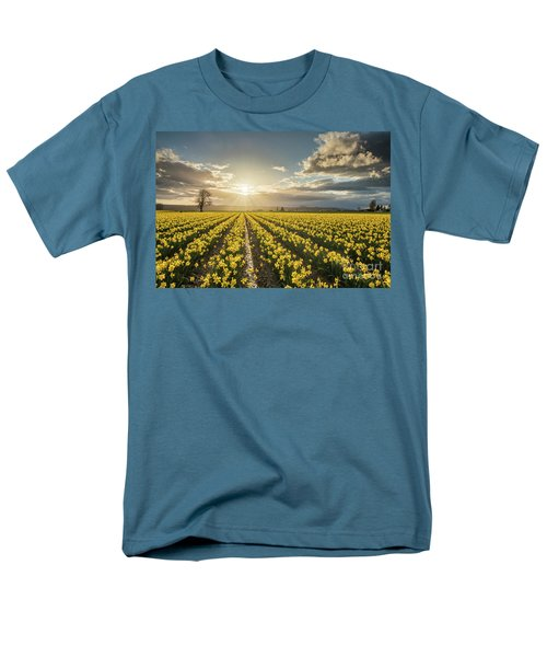 Men's T-Shirt  (Regular Fit) featuring the photograph Skagit Daffodils Bright Sunstar Dusk by Mike Reid