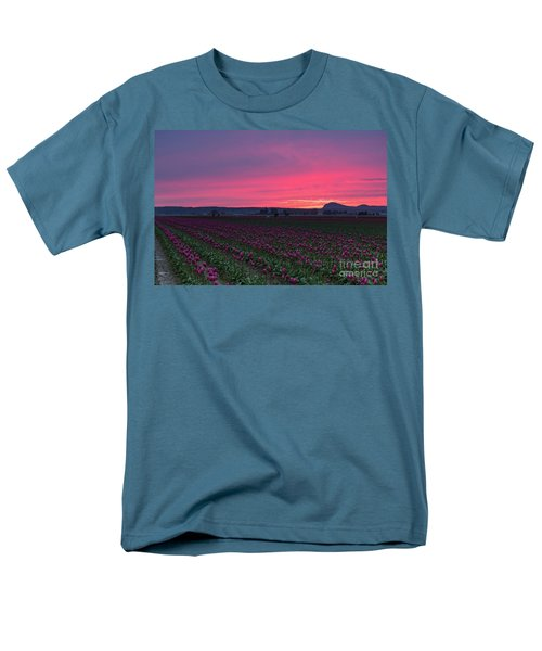 Men's T-Shirt  (Regular Fit) featuring the photograph Skagit Valley Burning Skies by Mike Reid