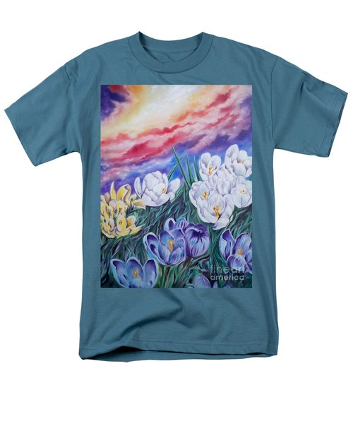 Men's T-Shirt  (Regular Fit) featuring the painting Snow Crocus by Sigrid Tune
