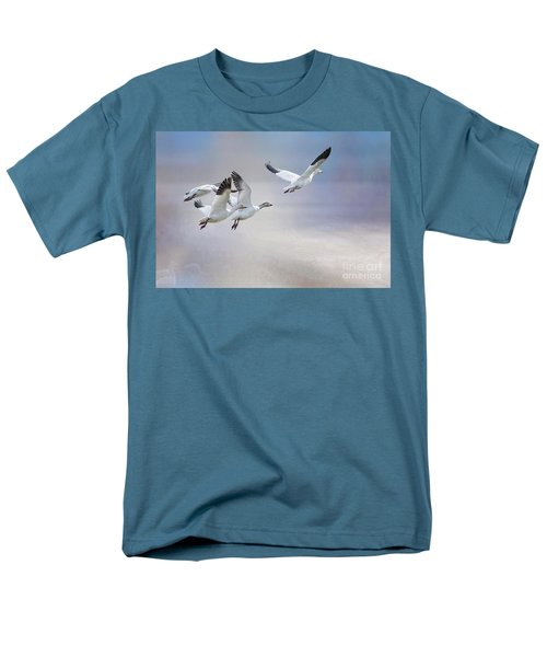 Snow Geese In Flight Men's T-Shirt  (Regular Fit) by Bonnie Barry