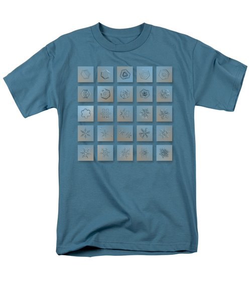 Men's T-Shirt  (Regular Fit) featuring the photograph Snowflake Collage - Season 2013 Bright Crystals by Alexey Kljatov