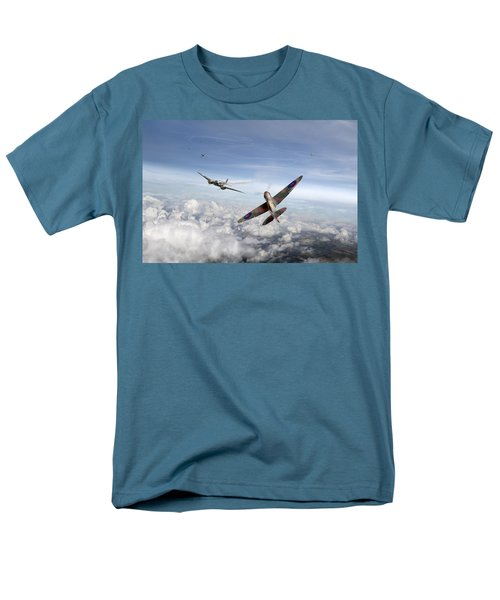 Men's T-Shirt  (Regular Fit) featuring the photograph Spitfire Attacking Heinkel Bomber by Gary Eason