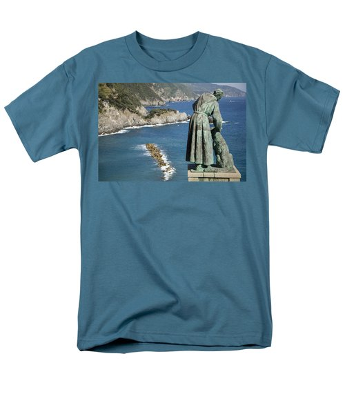 Statue Of Saint Francis Of Assisi Petting A Dog  Men's T-Shirt  (Regular Fit) by Ian Middleton