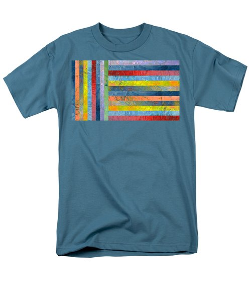 Stripes With Blue And Red Men's T-Shirt  (Regular Fit) by Michelle Calkins