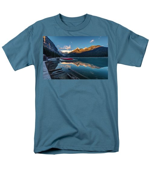 Sunrise At The Canoe Shack Of Lake Louise Men's T-Shirt  (Regular Fit) by Pierre Leclerc Photography