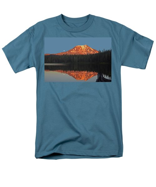 Men's T-Shirt  (Regular Fit) featuring the photograph Sunset And Moonrise At Takhlakh Lake by Jack Moskovita