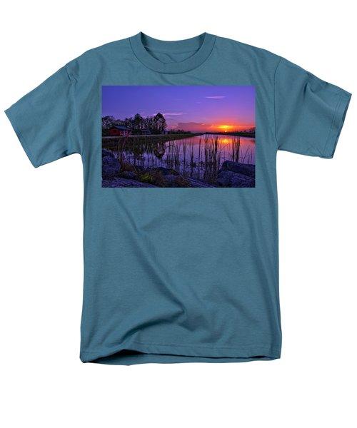 Sunset Over Hungryland Wildlife Management Area Men's T-Shirt  (Regular Fit) by Justin Kelefas