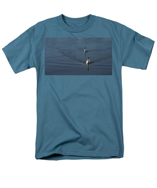 Swans On Blue Men's T-Shirt  (Regular Fit) by Charles Kraus