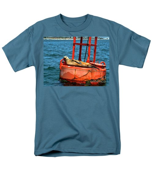 Men's T-Shirt  (Regular Fit) featuring the photograph Tanning Sea Lion On Buoy by Mariola Bitner