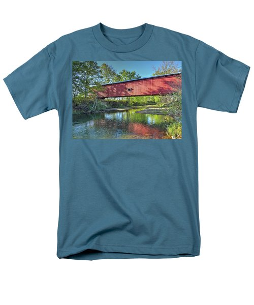 Men's T-Shirt  (Regular Fit) featuring the photograph The Crooks Covered Bridge - Sideview by Harold Rau