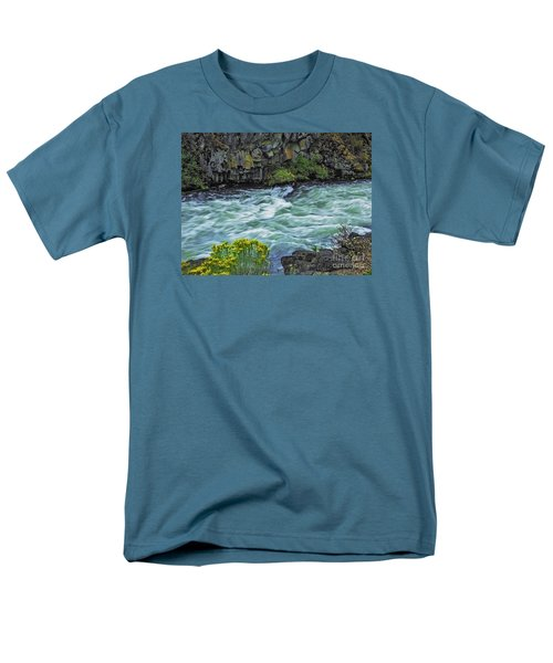 The Deschutes River At Dillon Falls Men's T-Shirt  (Regular Fit) by Nancy Marie Ricketts