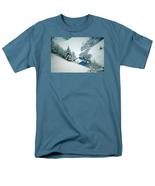Men's T-Shirt  (Regular Fit) featuring the photograph The Little Red Train - Winter In Switzerland  by Susanne Van Hulst