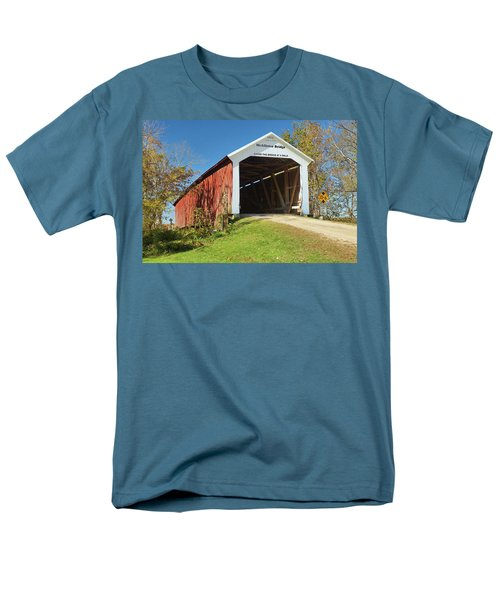 Men's T-Shirt  (Regular Fit) featuring the photograph The Mcallister Covered Bridge by Harold Rau