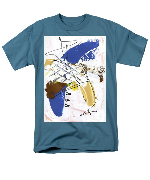 Men's T-Shirt  (Regular Fit) featuring the painting Three Color Palette Blue 3 by Michal Mitak Mahgerefteh
