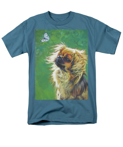 Tibetan Spaniel And Cabbage White Butterfly Men's T-Shirt  (Regular Fit) by Lee Ann Shepard