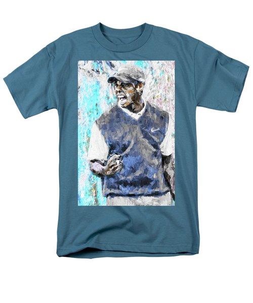 Tiger Woods One Blue Golfer Digital Art Men's T-Shirt  (Regular Fit) by David Haskett