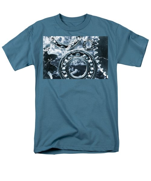Titanium Gears Against Storm Clouds Men's T-Shirt  (Regular Fit) by Christian Lagereek