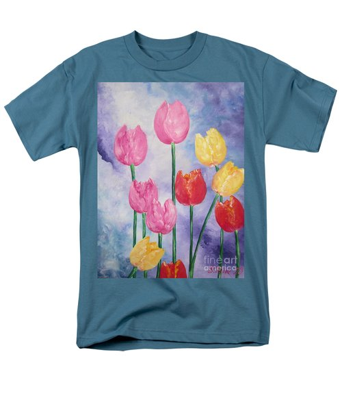Men's T-Shirt  (Regular Fit) featuring the painting Tulips - Red-yellow-pink by Sigrid Tune