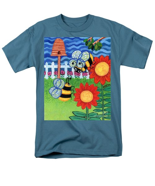 Two Bees With Red Flowers Men's T-Shirt  (Regular Fit) by Genevieve Esson