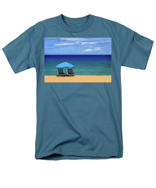 Men's T-Shirt  (Regular Fit) featuring the photograph Two Chairs And An Umbrella by James Eddy