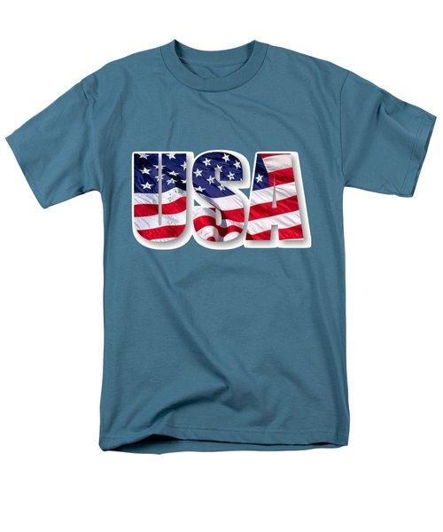 U. S. A. Red White Blue Design Men's T-Shirt  (Regular Fit)