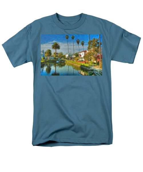 Men's T-Shirt  (Regular Fit) featuring the photograph Venice Canal Houses Watercolor  by David Zanzinger