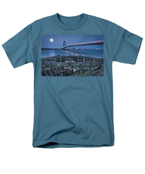 Men's T-Shirt  (Regular Fit) featuring the photograph Verrazano Narrows Bridge Full Moon by Susan Candelario