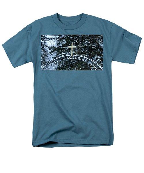 Villa Sacred Heart Winter Retreat Golden Cross Men's T-Shirt  (Regular Fit) by John Stephens
