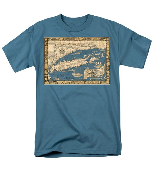 Vintage Map Of Long Island Men's T-Shirt  (Regular Fit) by James Kirkikis