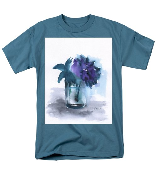 Violets In A Glass Abstract Men's T-Shirt  (Regular Fit) by Frank Bright