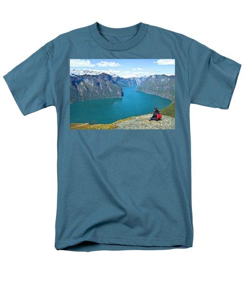Visitor At Aurlandsfjord Men's T-Shirt  (Regular Fit) by Heiko Koehrer-Wagner