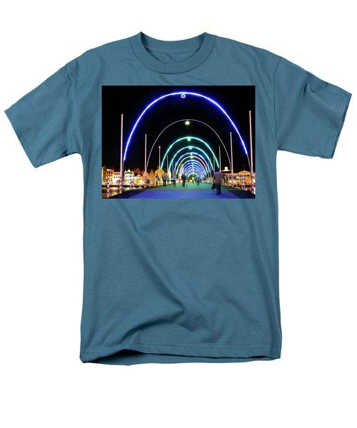 Men's T-Shirt  (Regular Fit) featuring the photograph Walk Along The Floating Bridge, Willemstad, Curacao by Kurt Van Wagner