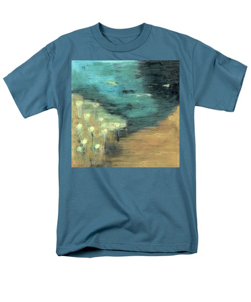 Men's T-Shirt  (Regular Fit) featuring the painting Water Lilies At The Pond by Michal Mitak Mahgerefteh